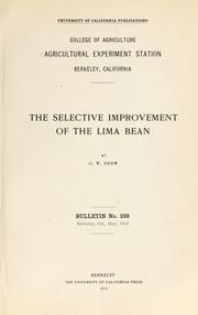 Cover of: The selective improvement of the lima bean