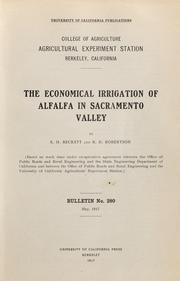 Cover of: The economical irrigation of alfalfa in Sacramento Valley