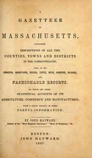Cover of: A gazetteer of Massachusetts by Hayward, John