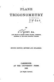 Cover of: Plane Trigonometry by Sidney Luxton Loney