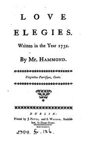 Cover of: Love elegies | James Hammond