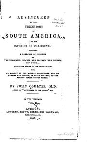 Cover of: Adventures on the western coast of South America | Coulter, John M.D