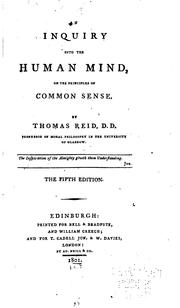 Cover of: An Inquiry Into the Human Mind: On the Principles of Common Sense by Thomas Reid