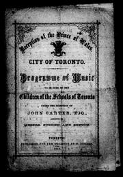 Cover of: Reception of the Prince of Wales, city of Toronto | Toronto (Ont.)