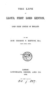 Cover of: The life of Lloyd, fisrt lord Kenyon |