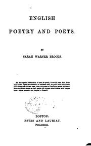 Cover of: English poetry and poets | Brooks, Sarah Warner