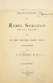 Cover of: Recollections of a Rebel surgeon | Ferdinand Eugene Daniel