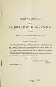 Cover of: Annual report of the Canadian Pacific Railway Company for the fiscal year ended June 30th 1903. | Canadian Pacific Railway Company