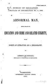 Cover of: Abnormal man | Arthur MacDonald