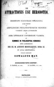 Cover of: De attractionis usu Herodoteo by Oswald May