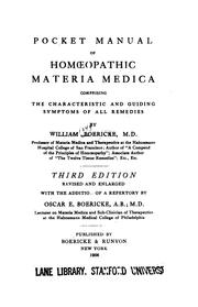 Pocket manual of homoeopathic materia medica by William Boericke