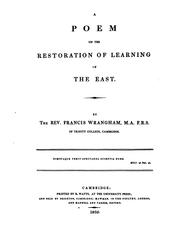 Cover of: A poem on the restoration of learning in the East | Francis Wrangham