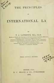 Cover of: The principles of international law | Thomas Joseph Lawrence