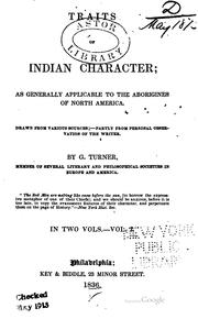 Cover of: Traits of Indian character | Turner, George judge of the Western territory