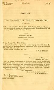 Cover of: Message from the President of the United States, in compliance with a resolution of the Senate of the 13th October, 1837 | United States. Bureau of Indian affairs