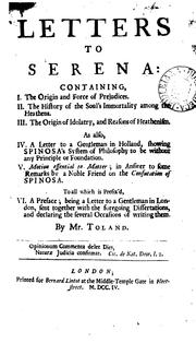 Cover of: Letters to Serena by John Toland
