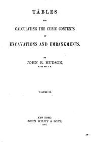 Cover of: Tables for Calculating the Cubic Contents of Excavations and Embankments by J. R. Hudson