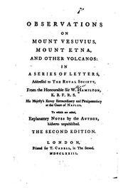 Observations on Mount Vesuvius, Mount Etna, and other volcanos by Hamilton, William Sir