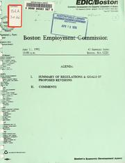 Cover of: Boston employment commission regulations. (draft) | Boston Economic Development and Industrial Corporation