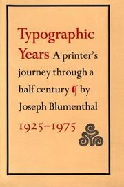 Cover of: Typographic years | Joseph Blumenthal