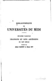 Chansons et dits artésiens du XIIIe siècle by Alfred Jeanroy