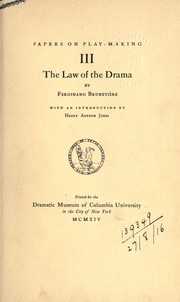 Cover of: The law of the drama. | Ferdinand Brunetière