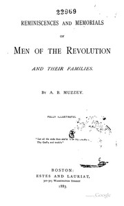 Cover of: Reminiscences and Memorials of Men of the Revolution and Their Families by Artemas Bowers Muzzey