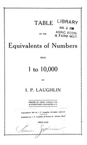 Cover of: Table of the equivalent of numbers from 1 to 10,000 | I. P. Laughlin