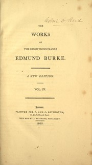Cover of: The works of the Right Honourable Edmund Burke. | Edmund Burke
