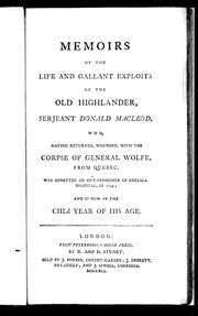 Cover of: Memoirs of the life and gallant exploits of the Old Highlander, Serjeant Donald Macleod | William Thomson