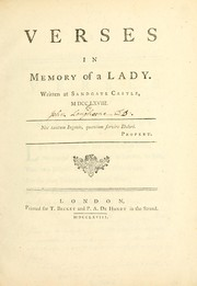 Cover of: Verses in memory of a lady. | Langhorne, John