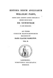 Cover of: Historia rerum anglicarum Willelmi Parvi by William of Newburgh