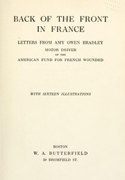 Cover of: Back of the front in France | Amy Owen Bradley
