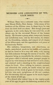 Cover of: Anecdotes and memoirs of William Boen, a coloured man, who lived and died near Mount Holly, New Jersey | Joshua Coffin