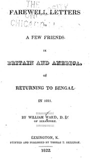 Cover of: Farewell letters to a few friends in Britain and America | Ward, William