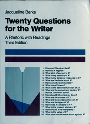 Cover of: Twenty questions for the writer | Jacqueline Berke