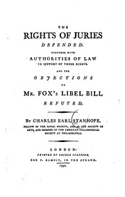 Cover of: The rights of juries defended | Charles Stanhope Earl Stanhope