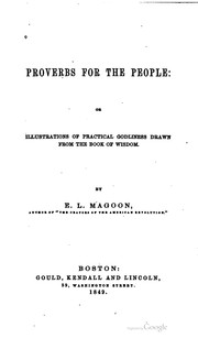 Cover of: Proverbs for the people | Elias Lyman Magoon