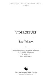 Cover of: Ṿidergeburṭ by Leo Tolstoy