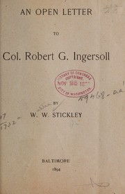 Cover of: An open letter to Col. Robert G. Ingersoll