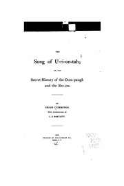 Cover of: The song of U-ri-on-tah | Uriah Cummings
