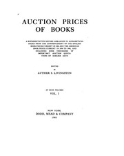 Cover of: Auction prices of books | Luther Samuel Livingston