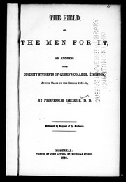 The field and the men for it by James George