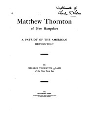 Cover of: Matthew Thornton of New Hampshire | Charles Thornton Adams