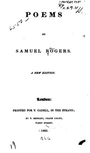 Cover of: Poems by Samuel Rogers