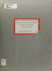 Cover of: Material control and weapon system costing under the Navy Maintenance and Material Management System (aviation)