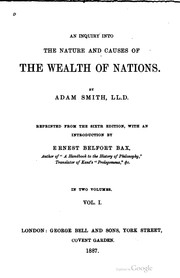 Cover of: An inquiry into the nature and causes of the wealth of nations. | Adam Smith