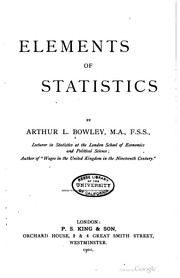 Cover of: Elements of statistics | Bowley, A. L. Sir
