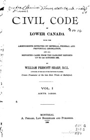 Cover of: Civil code of Lower Canada | QuГ©bec (Province)
