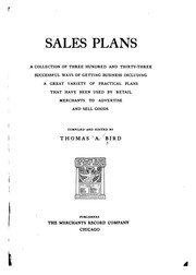 Cover of: Sales plans | Thomas A[lexander] Bird